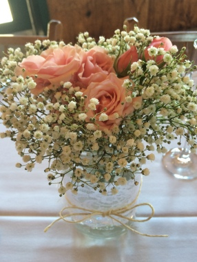 Baby's breath is making a comeback, believe it or not. Bunching it together can give it a whole different look.