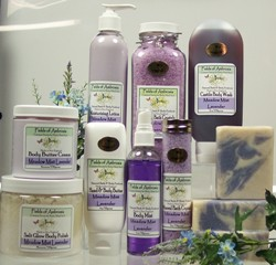 Distinctive bath and body care products, handmade in small batches using organic plant and vegetable-based ingredients. Soaps, lotions, creams, salt scrubs, bath crystals, oils and more in a variety of floral, herbal and sweet scents.